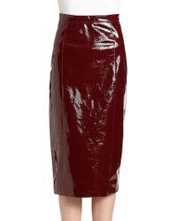 Burberry Prorsum Patent Leather Skirt - Lyst