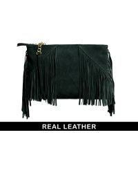 Asos Leather Clutch Bag with Tassels - Lyst