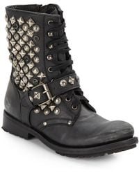 Ash Ryanna Studded Lace-Up Boots - Lyst