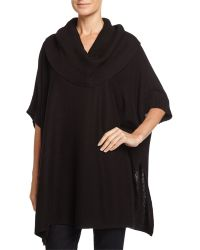 Neiman Marcus | Half-sleeve Ribbed Cowl-neck Poncho | Lyst