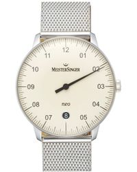 Meistersinger - 'neo' Automatic Single Hand Mesh Strap Watch - Lyst