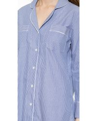 Salua Striped Boyfriend Pj Shirt - Mediterranean Stripes - Blue