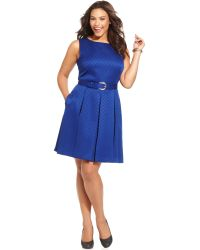 Tahari By Asl Plus Size Sleeveless Pleated Jacquard Dress - Lyst