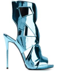 Giuseppe Zanotti Blue Metallic Sandals - Lyst