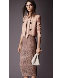 Burberry Cropped Silk Organza Jacket - Lyst