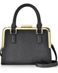 Roccobarocco | Lyric Black Animal Print Eco Leather Satchel Bag | Lyst