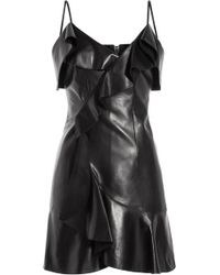 Balmain Draped Leather Mini-Dress - Lyst