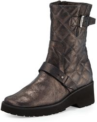 Anyi Lu - Adrian Metallic Quilted Boot - Lyst