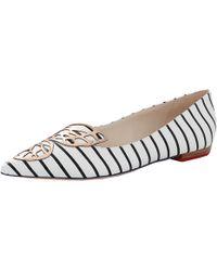 Sophia Webster Bibi Nautical-stripe Butterfly Flat - Black