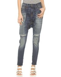 R13 The Harem Jeans - Stoned Blue Ripped - Lyst