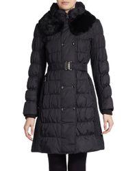 Via Spiga Quilted Fur Collar Long Coat In Black Steel