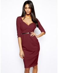 Asos Belted Pencil Midi Dress - Lyst