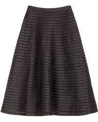 Cynthia Rowley Duchess Satin Mesh Insert Midi Skirt - Lyst