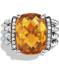 David Yurman Wheaton Ring With Citrine And Diamonds - Metallic