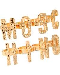 Moschino Lettered Ring Set - Metallic