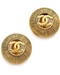 What Goes Around Comes Around Vintage Chanel Cutout Cc Burst Earrings - Gold - Lyst