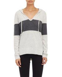 Barneys New York Cashmere Hooded V-Neck Sweater - Lyst