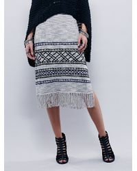 Free People Fringe Knit Skirt In Gray