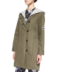 Thakoon Addition Heavy Twill/Knit Hooded Coat - Lyst