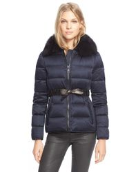 Burberry Brit - Belted Down Jacket With Genuine Fox Fur Collar - Lyst