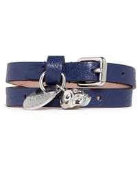 Alexander McQueen Skull Charm Double Wrap Leather Bracelet - Lyst