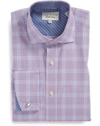 Ted Baker 'Tomatin' Trim Fit Plaid French Cuff Dress Shirt - Lyst