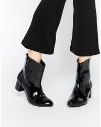 Warehouse 60s Patent Calf Boots - Black