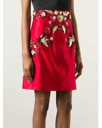 Dolce & Gabbana Floral-Printed Brocade Skirt red - Lyst
