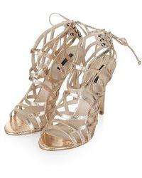 TOPSHOP - Resort Metallic Sandals - Lyst