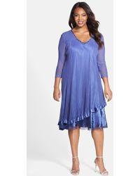 Komarov Embellished V-Neck Tiered Chiffon A-Line Dress - Lyst