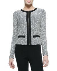 Three Dots Tweed Zip-front Cardigan - Lyst