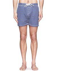 Scotch & Soda Marine Stripe Swim Shorts - Blue