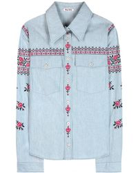 Miu Miu Embroidered Cotton Shirt - Lyst