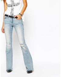 Blank Flared Jeans With Raw Hem And Distressing in Blue | Lyst