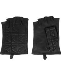 Karl Lagerfeld Kkuilted Fingerless Leather Gloves - Lyst