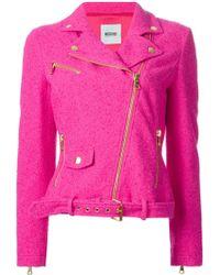 Moschino Cheap & Chic Tweed Biker Jacket - Lyst