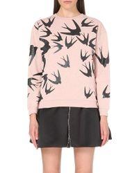 McQ by Alexander McQueen Swallow-Print Cotton-Jersey Sweatshirt - For Women pink - Lyst
