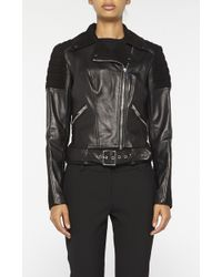 Nicole Miller Leather Moto Jacket - Black