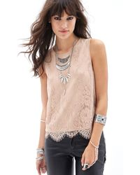Forever 21 Lace Chiffon-Back Tank - Lyst