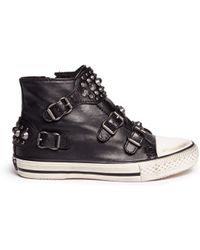 Ash Frog' Stud Strap Leather Kids Sneakers - Lyst