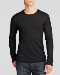 John Varvatos Luxe Crewneck Sweater with Leather Elbow Patches - Lyst