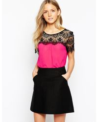 Girls On Film Top With Lace Shoulder Derail - Pink