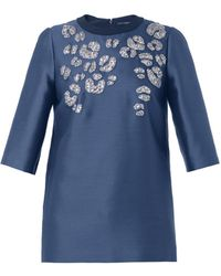 Gucci Embellished Mikado Blouse - Lyst