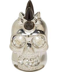 Alexander McQueen Silver Horn Studded Skull Ring - Lyst