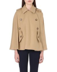 Michael by Michael Kors Pea Coat Cape Dark Camel - Lyst
