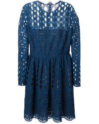 Lanvin Blue Lace Dress - Lyst
