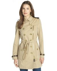 Burberry Brit Honey Cotton 'Anthornlt' Double Breasted Belted Trench - Lyst