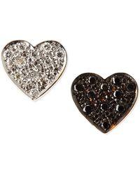 Kacey K - Black & White Diamond Mini Heart Stud Earrings - Lyst