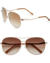 Roberto Cavalli Aviator Textured Snake Sunglasses - Lyst