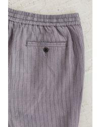 Koto Hitaro Cropped Pinstripe Linen Pant - Blue